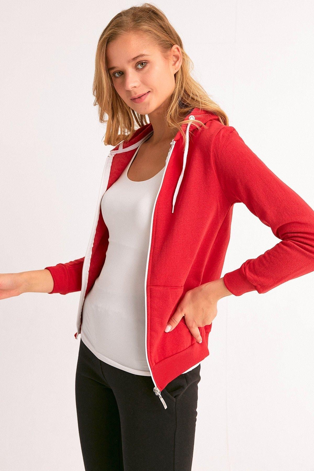 Fulla Moda Fermuarlı Kapüşonlu Sweatshirt 1