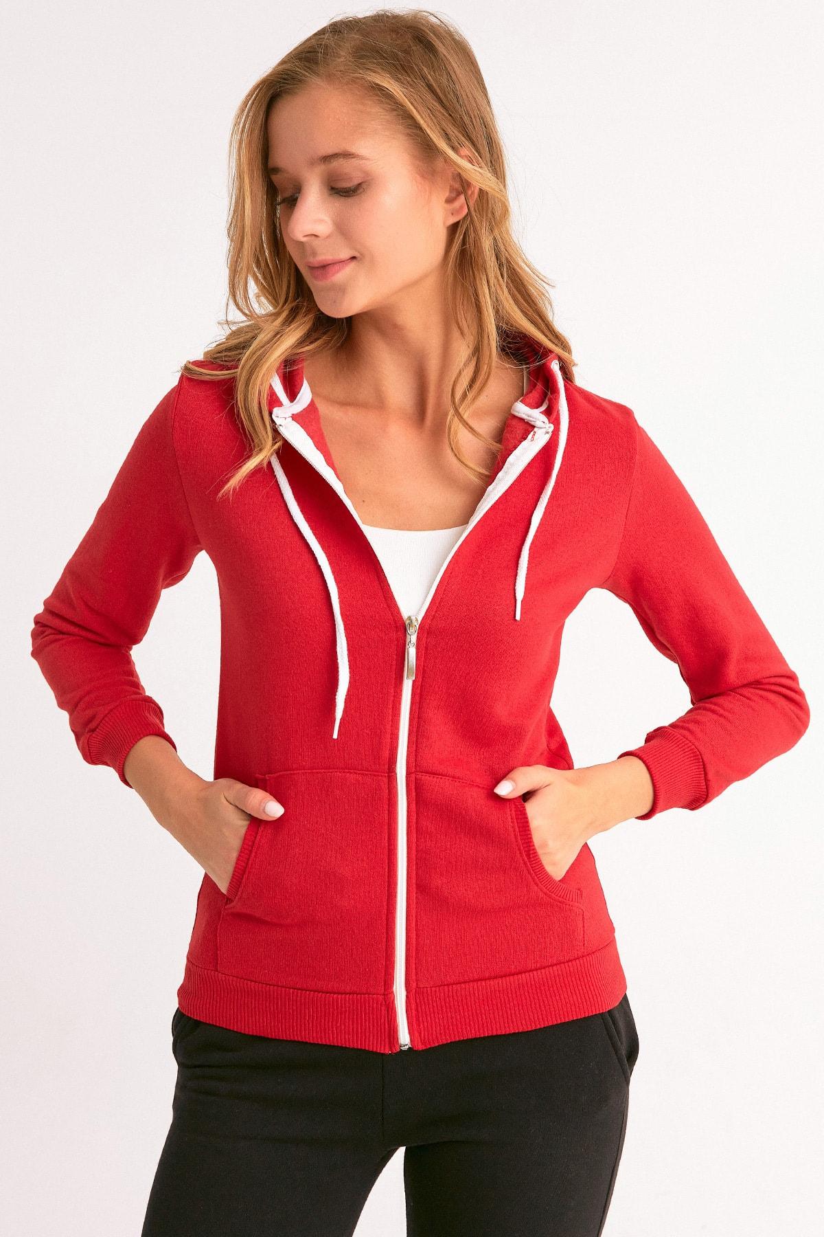 Fulla Moda Fermuarlı Kapüşonlu Sweatshirt 2
