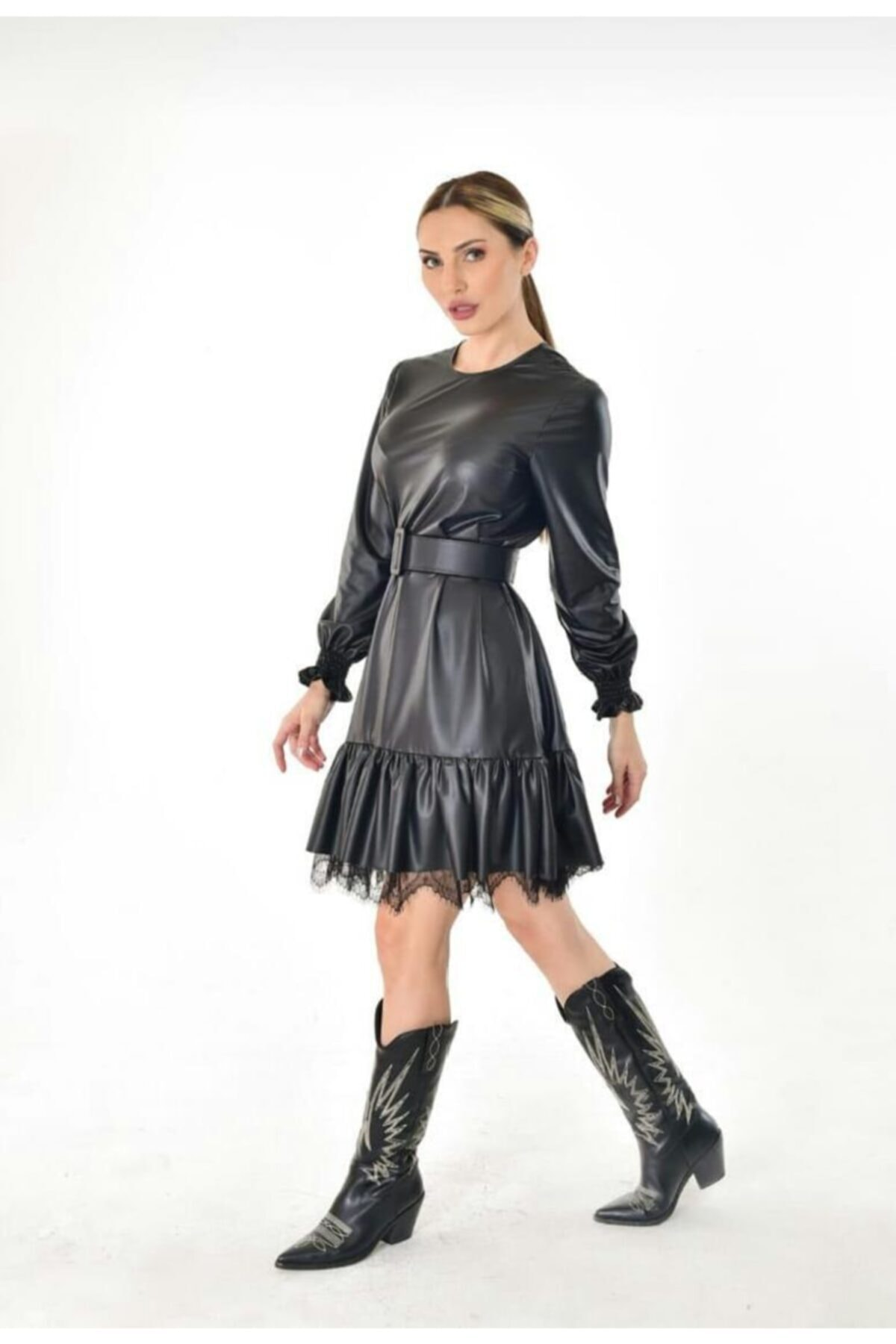 Estelle Giyim Kadın Ince Deri Siyah Elbise Estll0889 2