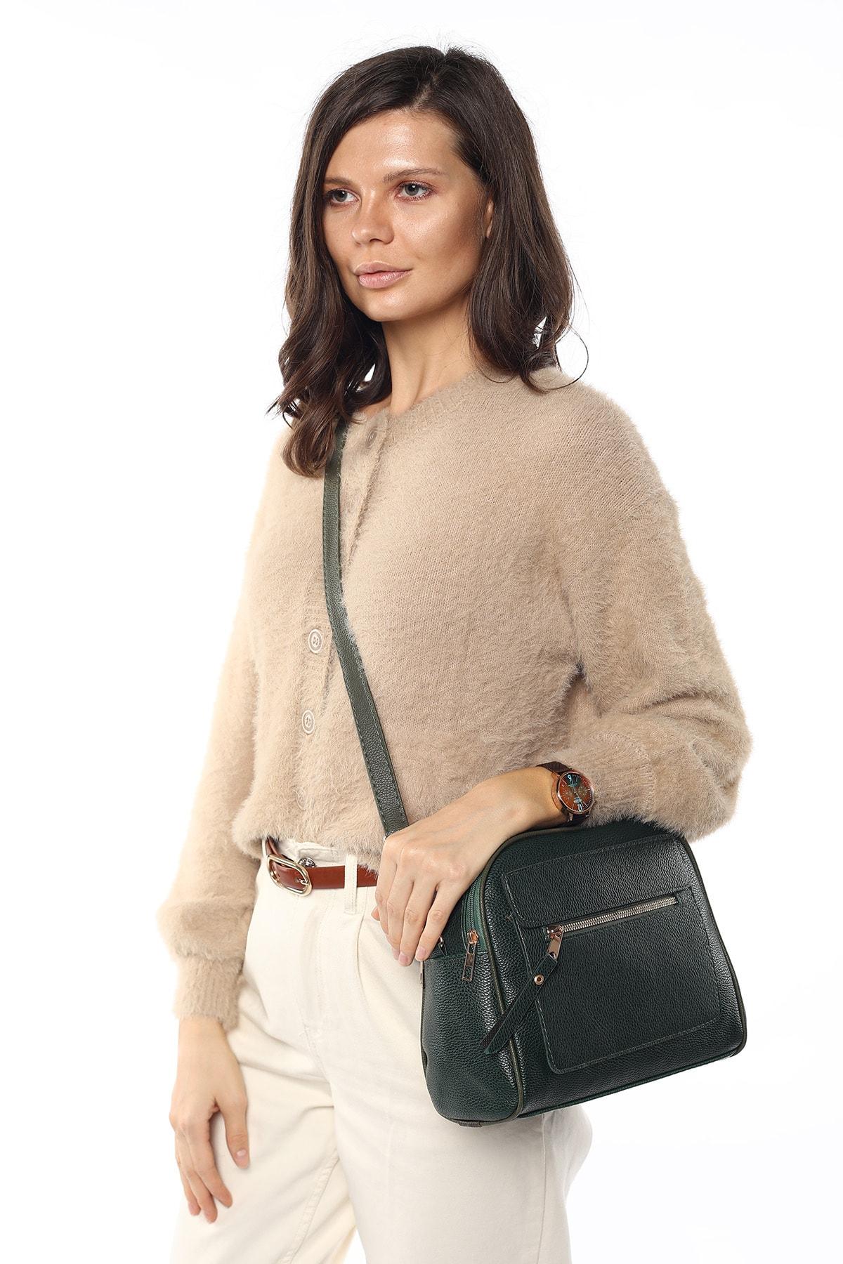 Madamra Aynı Butikte 2.Ürün 1 TL  Yeşil Kadın Çok Bölmeli Omuz Çantası Çapraz Çanta ve El Çantası 2