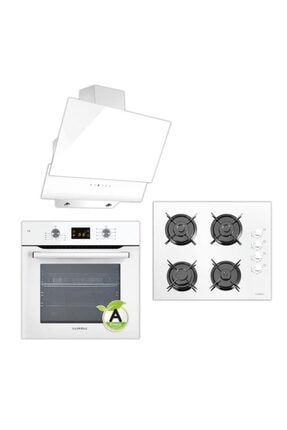 Luxell Beyaz Dokunmatik Dijital Ankastre Set