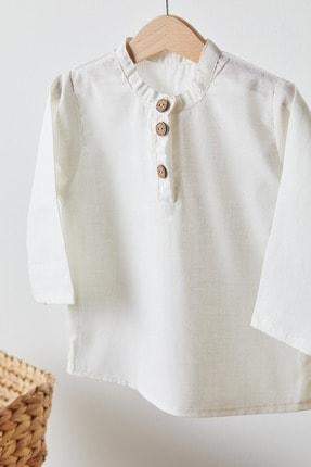 Babyjoko %100 Keten Bej Rengi Uzun Kollu Çocuk Gömlek