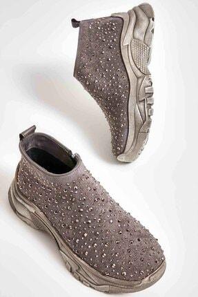 Bambi Gri Süet Kadın Sneaker M0674090165