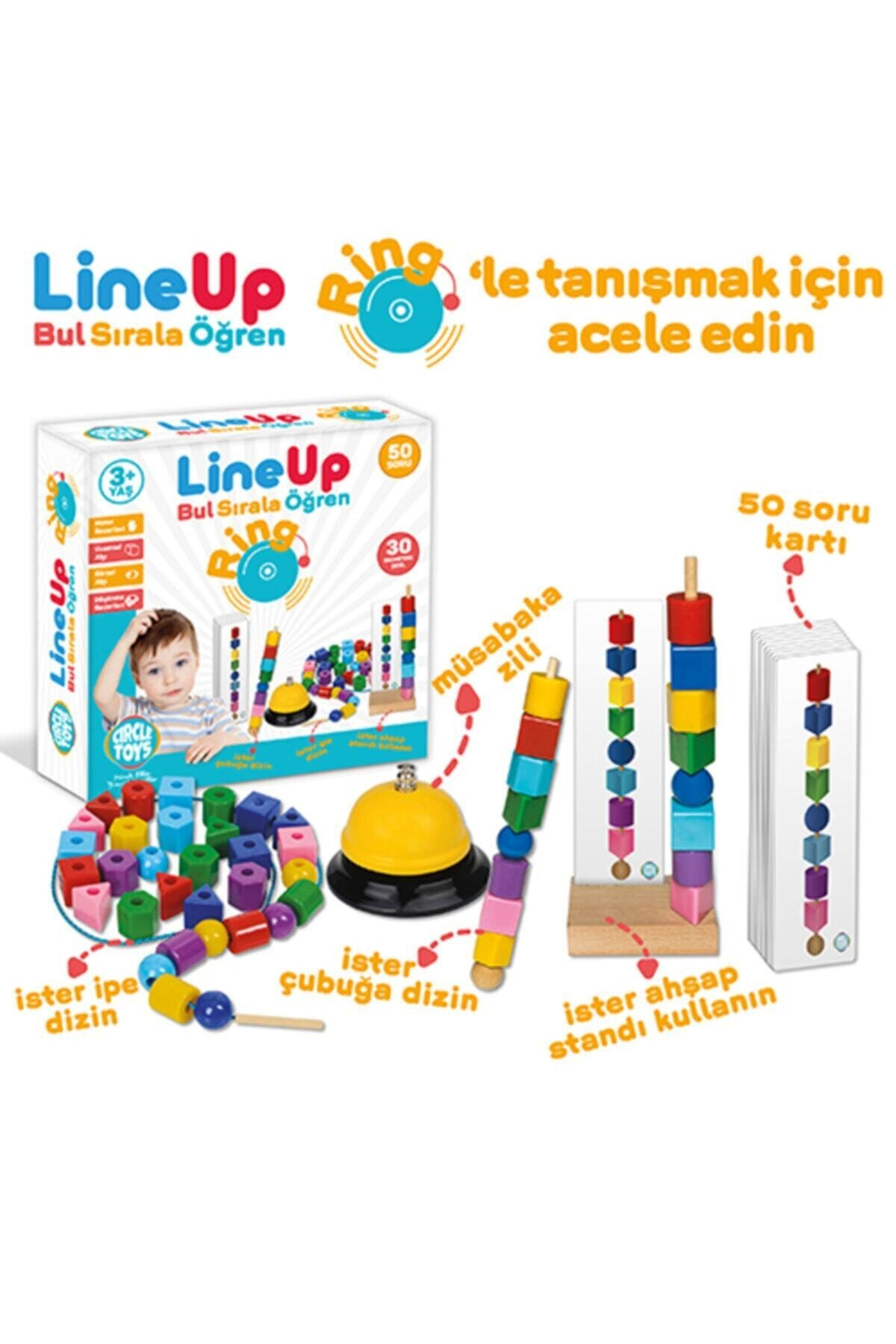 Circle Toys Line Up Ring - Bul Sırala Öğren 50 Soru 30 Geometrik Şekil Eğitim Seti 2