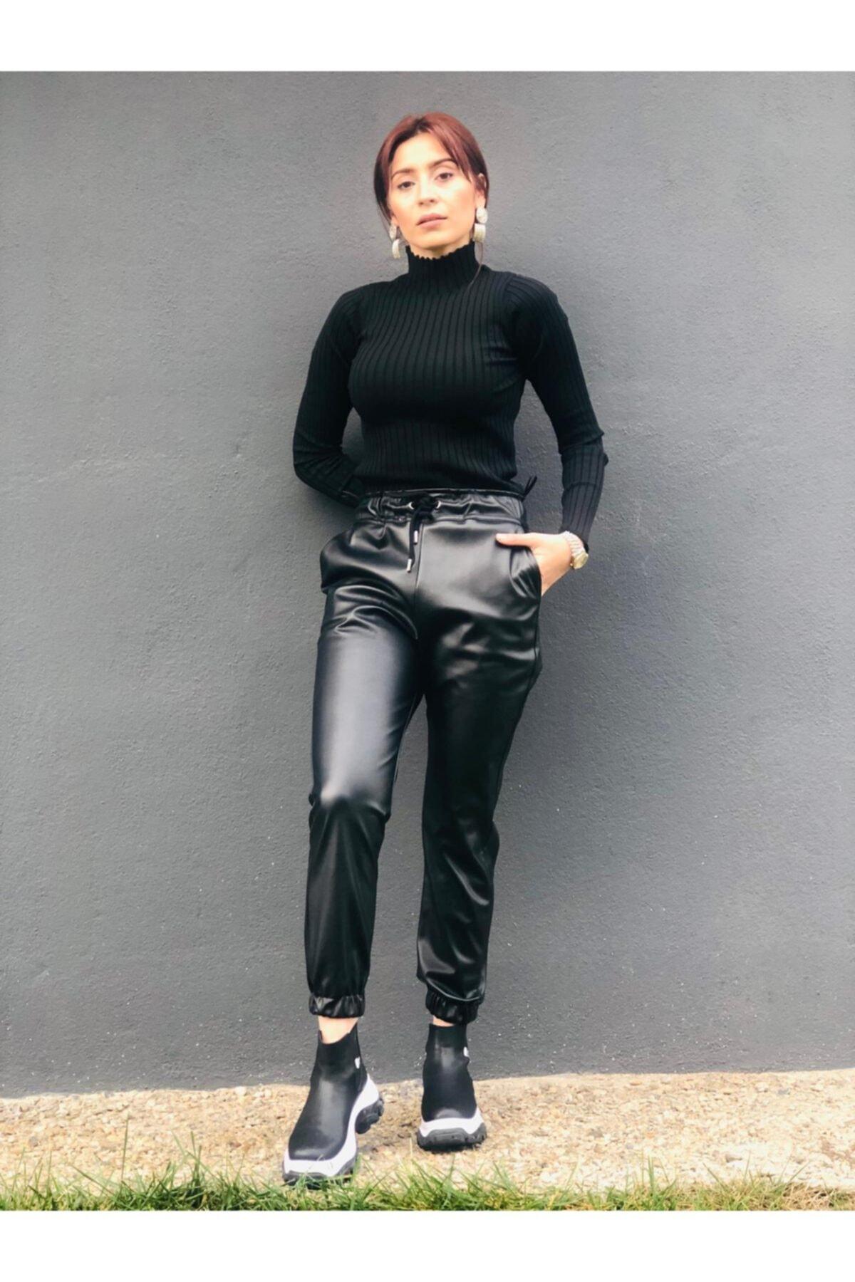 MİNNA Siyah Bel Ve Paça Lastik Detaylı Suni Deri Jogger Pantolon 1