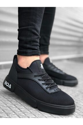 BOA Ba0098 Bağcıklı Rahat Yüksek Taban Siyah Sneakers Spor Ayakkabı