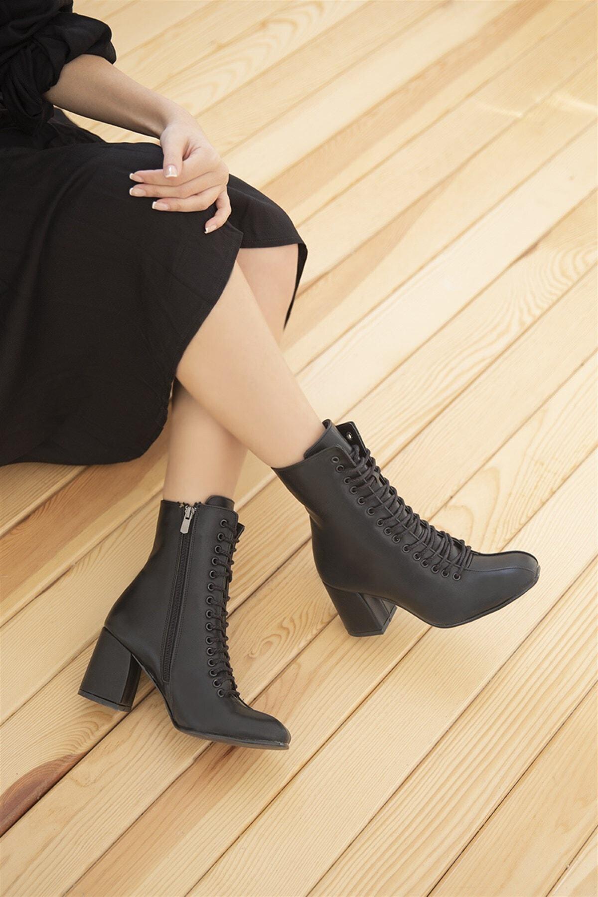 STRASWANS Kimona Bayan Topuklu Deri Bağcıklı Bot Siyah 2