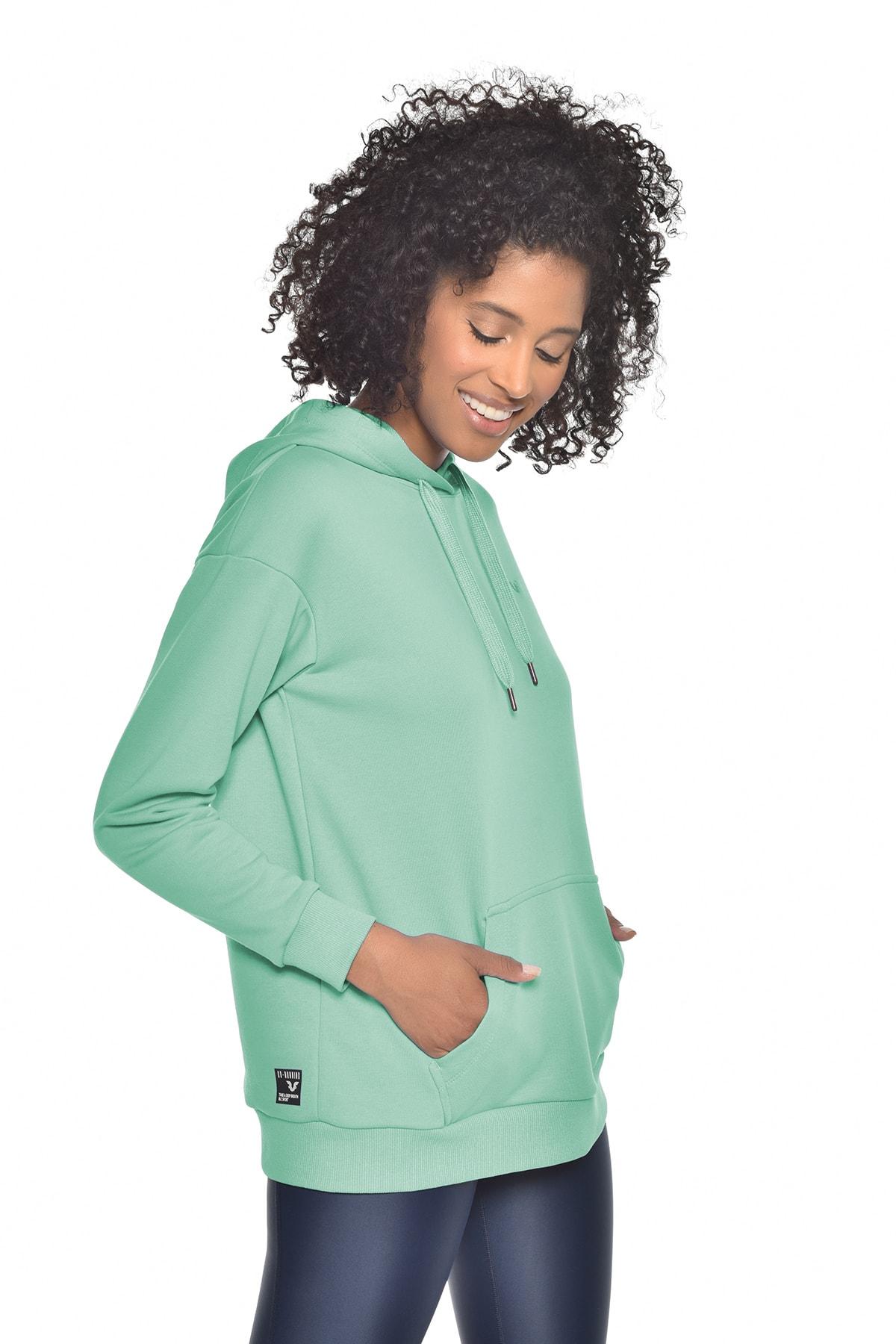 bilcee Yeşil Kadın Kapüşonlu Sweatshırt Gw-8785 2