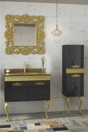 Housepack Gold Siyah 115 Cm Boy Dolaplı Cam Lavabolu Lüx Banyo Takımı