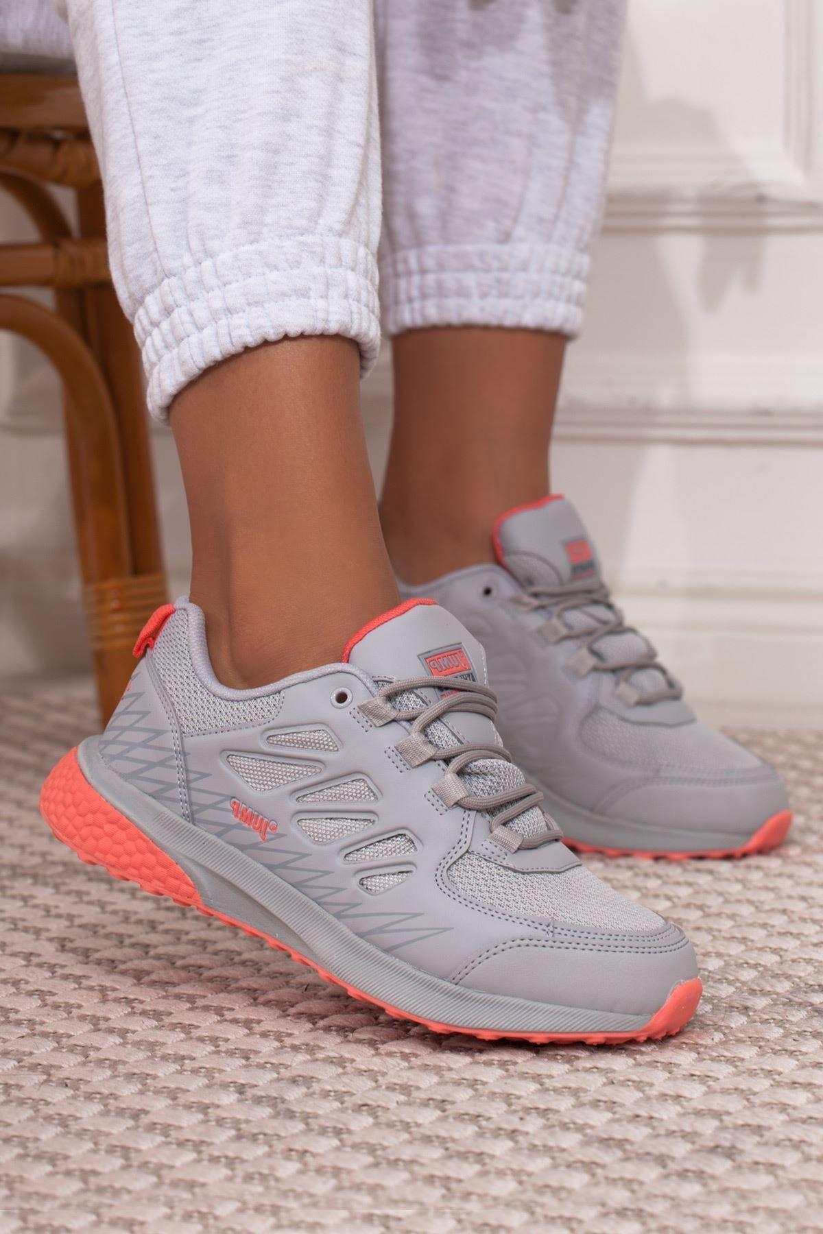 Jump Gri Pembe Bağcıklı Kadın Spor Ayakkabı • A212kjmp0008 1