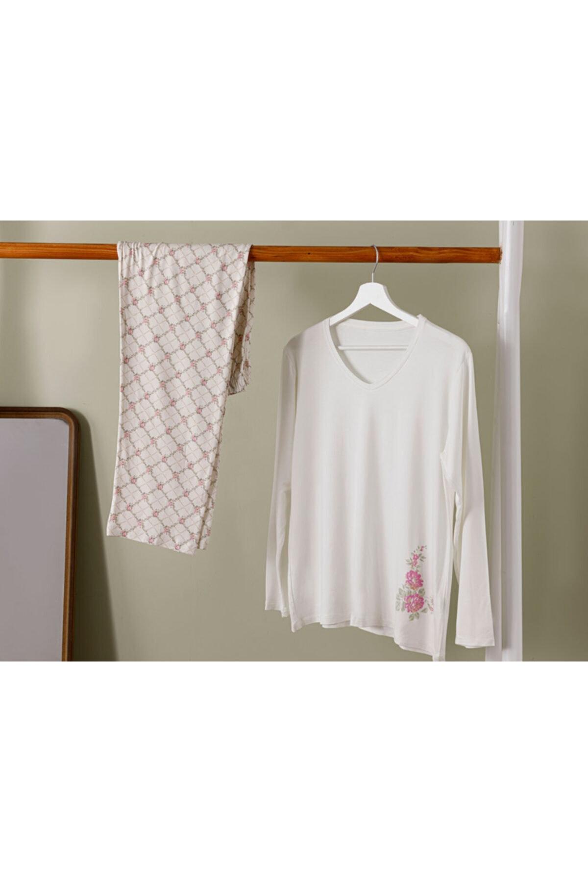 English Home Art Bloom Viskon Pijama Takımı S-m Beyaz 1