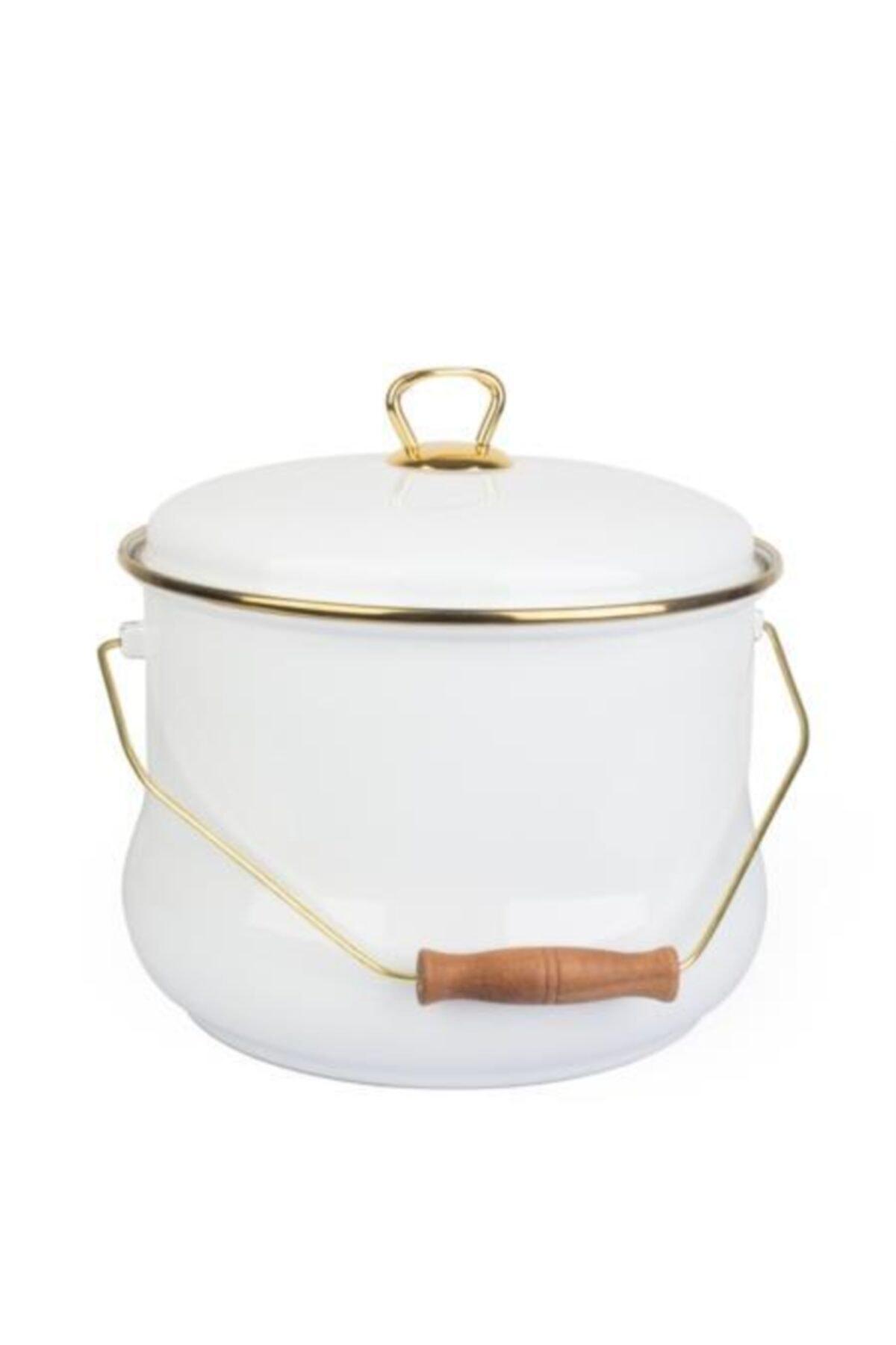ACAR Qualita Serisi 24 Cm Gold Yaldız Emaye Bakraç Beyaz 16946 1