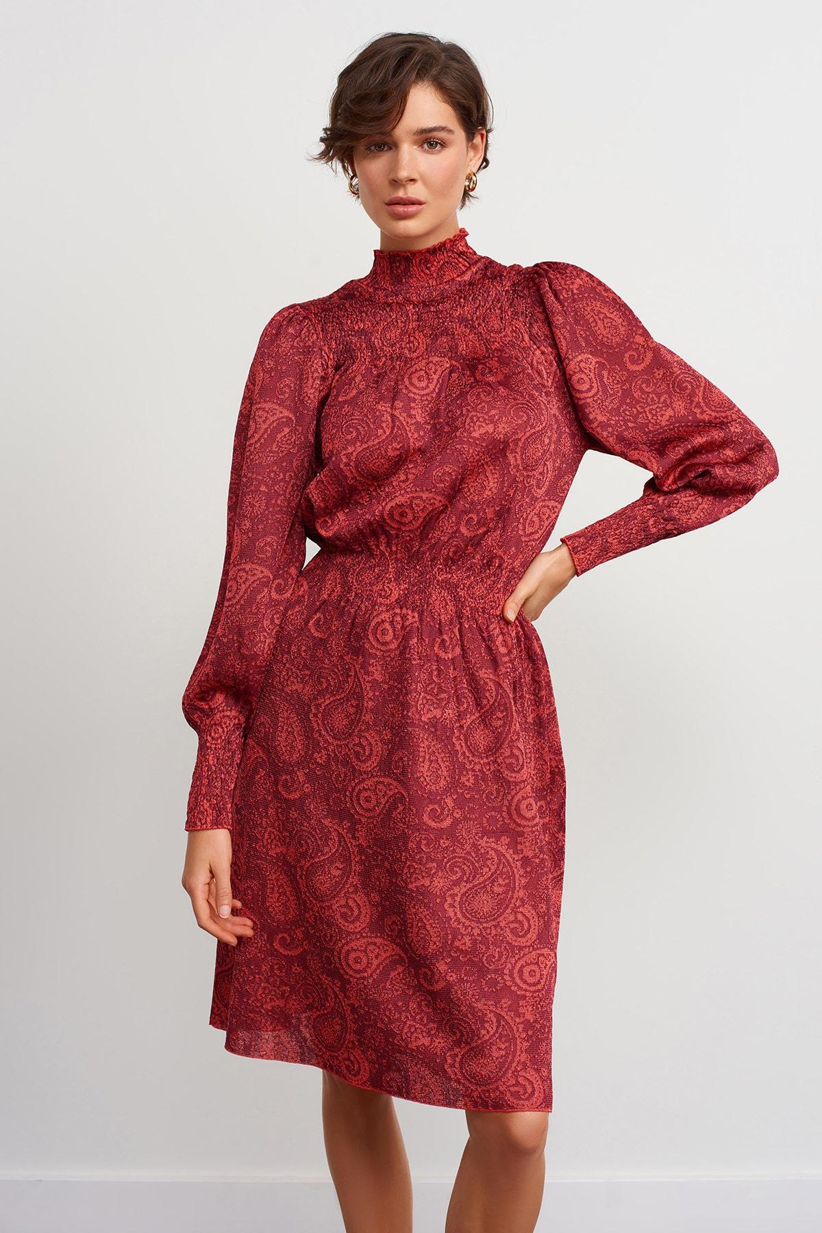 JOIN US Dik Yaka Desenli Triko Elbise-kırmızı 2