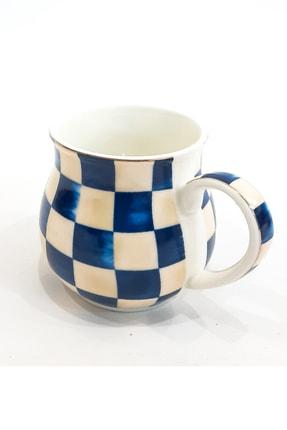Arow - Dubai Arow Ekose Desenli Porselen Kupa Mavi Renkli
