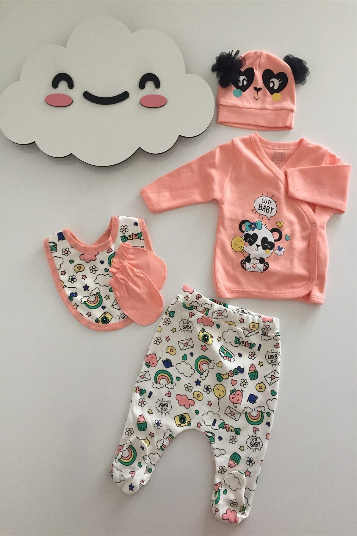 İmaj Kız Bebek 5 Parça Hastane Çıkışı %100 Pamuk Ürün Panda Detaylı 1