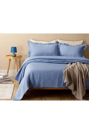 English Home Merlin Jakarlı Çift Kişilik Yatak Örtüsü Takımı 250x260 Cm Parlament Mavisi