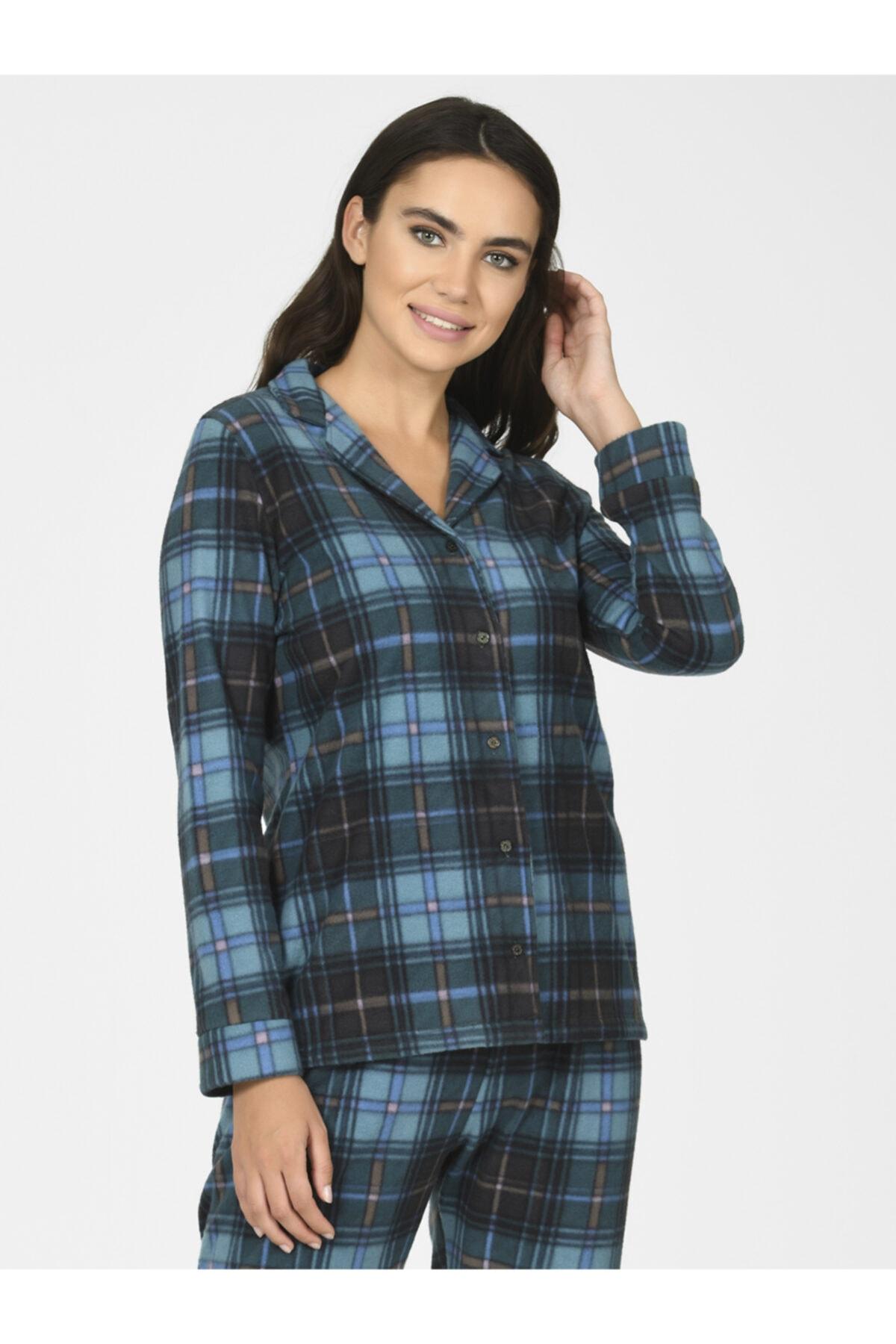 NBB Ekose Polar Kadın Pijama Takımı 67020 2