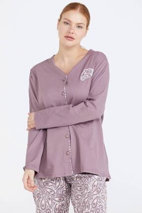 Sementa Önden Düğmeli Kadın Pijama Takım - Kahve