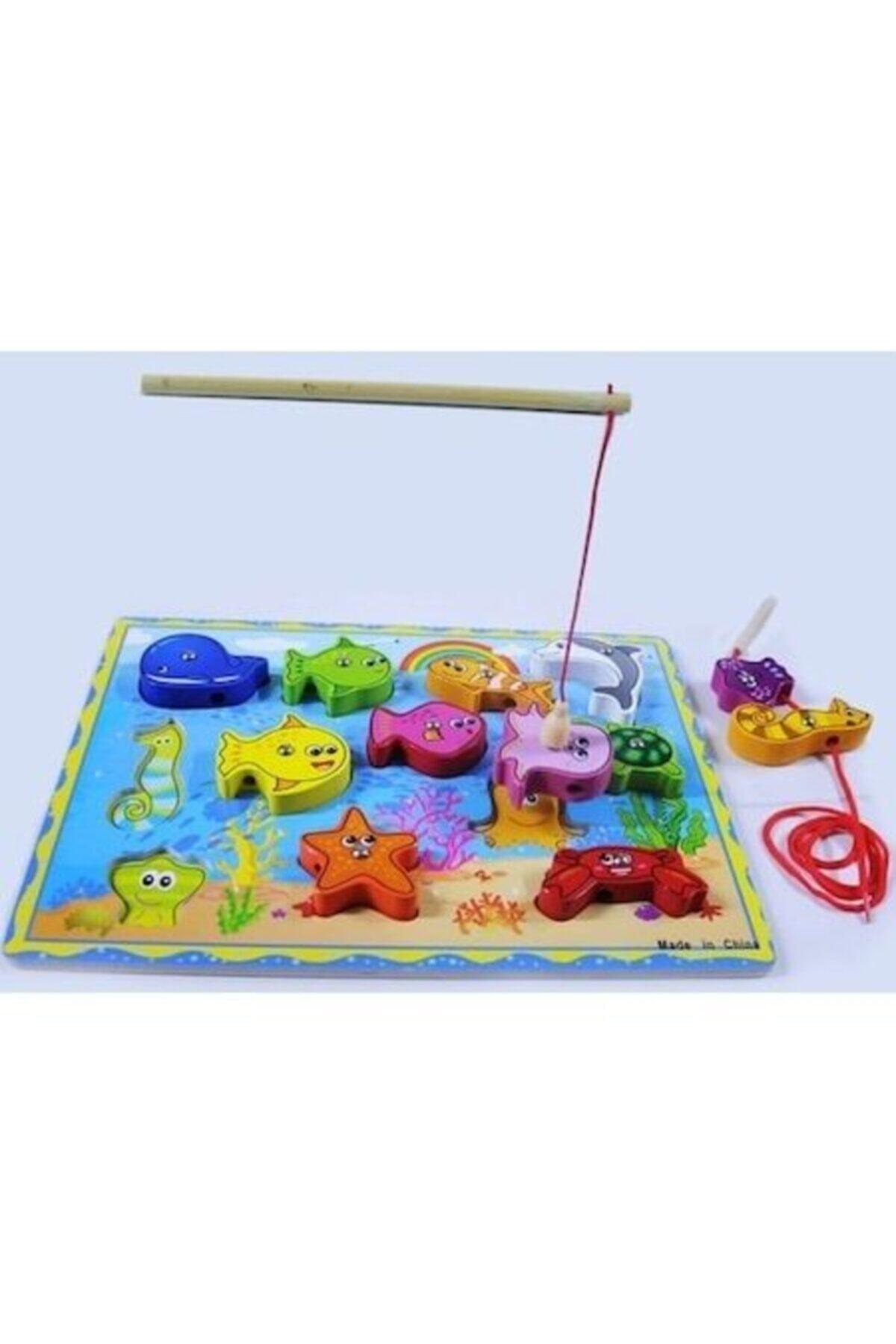 Wooden Toys Ahşap Balık Tutma Oyunu Ipe Dizme Bul Tak Eğitici Oyun 2