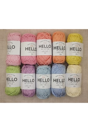 HELLO Dk Punch Ve Amigurumi Pastel Iplik Seti 10'lu - Pamuk - Set 4