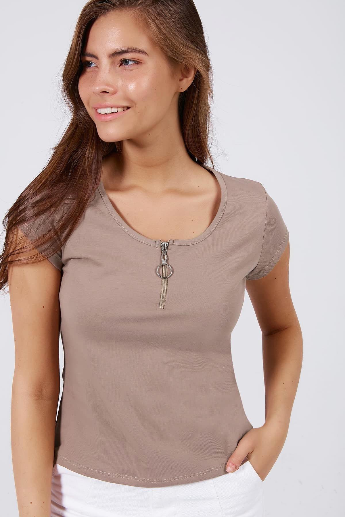 Pattaya Kadın Fermuar Detaylı Kısa Kollu Tişört Y20s126-10543 1