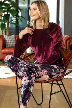Anıl 9676 Ev Giyimi Uzun Kol Bisiklet Yaka Kadın Kadife Çiçek Desenli Peluş Detaylı Pijama Takımı