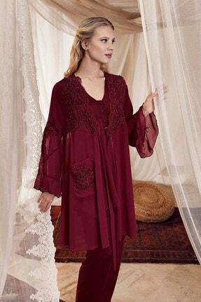 Artış 8307 Matilde Bordo Sabahlıklı Lohusa Pijama Takımı