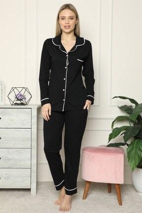 Akbeniz Kadın %100 Pamuk Penye Önden Düğmeli Uzun Kol Pijama Takım 2717