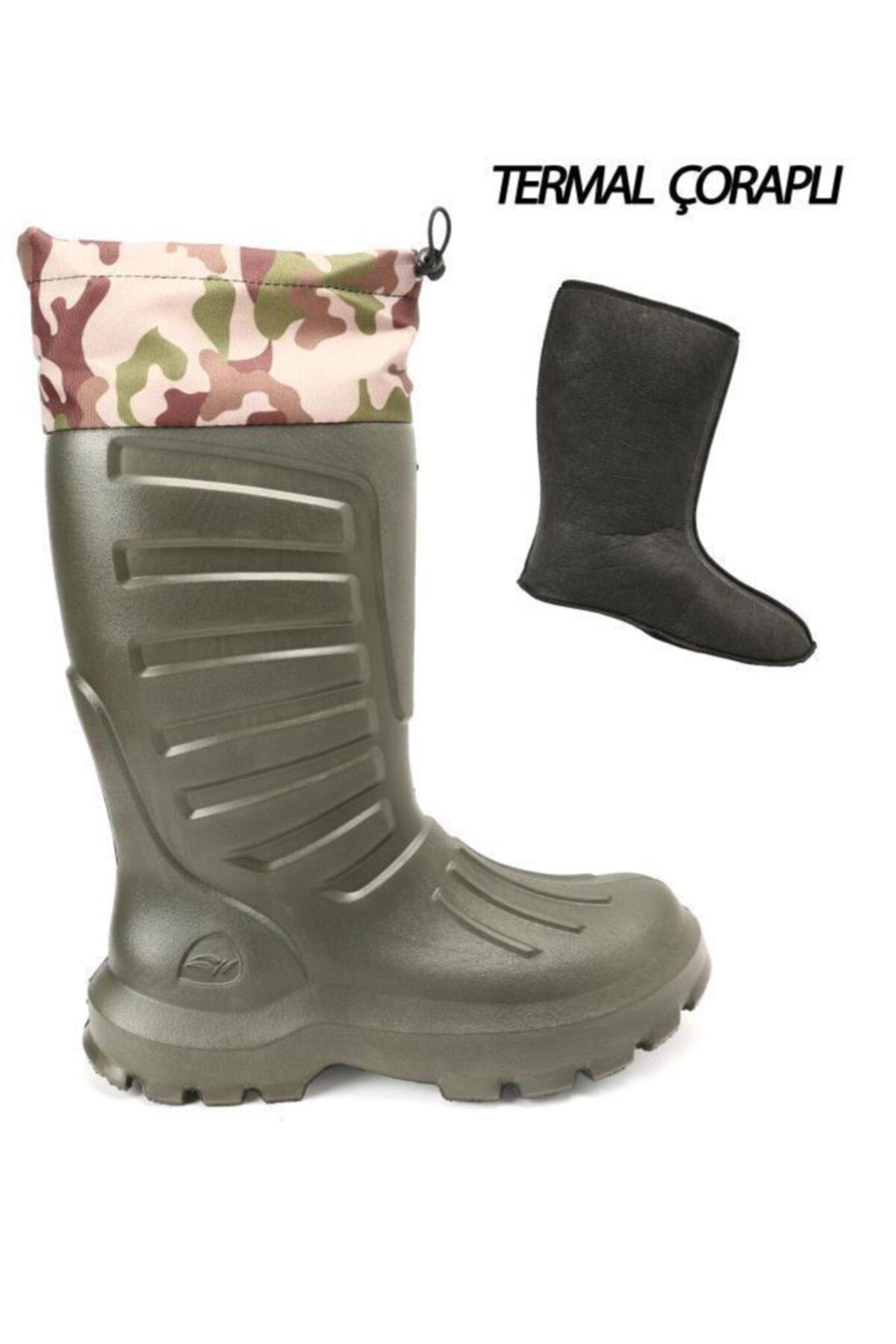 Ayakkabı Çarşı Yeşil Hafif Termal Çoraplı Yağmurluk Erkek Çizme 1