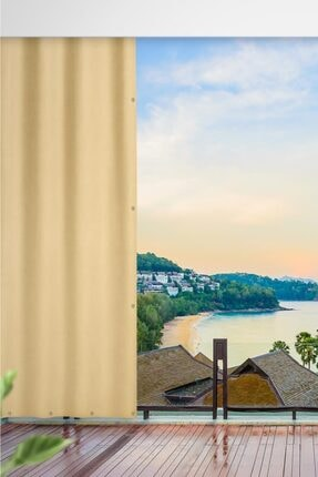 ALTINPAMUK Her Ölçüde Enxboy Seçenekli Kuşgözlü Balkon Perdesi Balkon Brandası Koyu Krem
