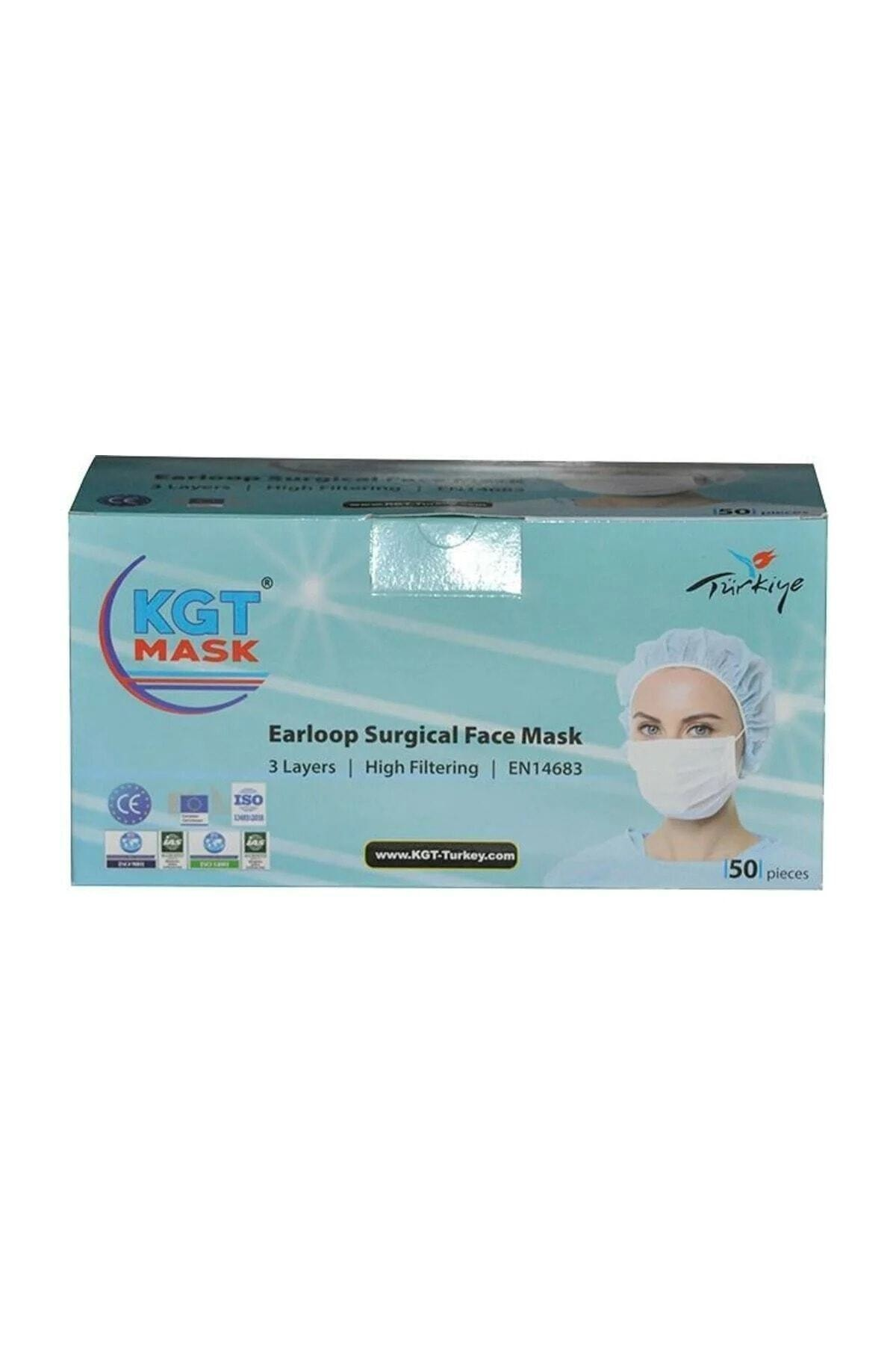 KGT 3 Katlı Telli Kişisel Koruyucu Maske 50 Adet 1