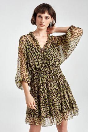 Nocturne Kadın Desenli Fırfır Şeritli Desenli Mini Elbise N20y-2223-0007