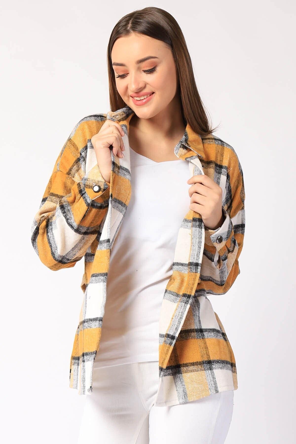 Twister Jeans Kadın Gömlek Kadın Ekose Cepli Gömlek 26927 Hardal 1