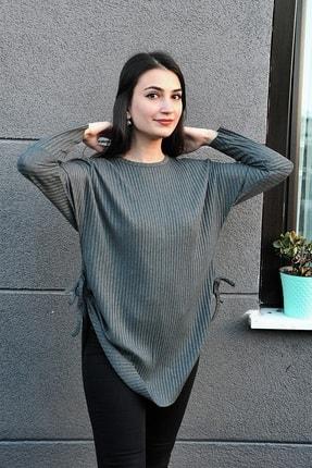 Zoze Tekstil Yanları Bağcıkları Füme Tunik