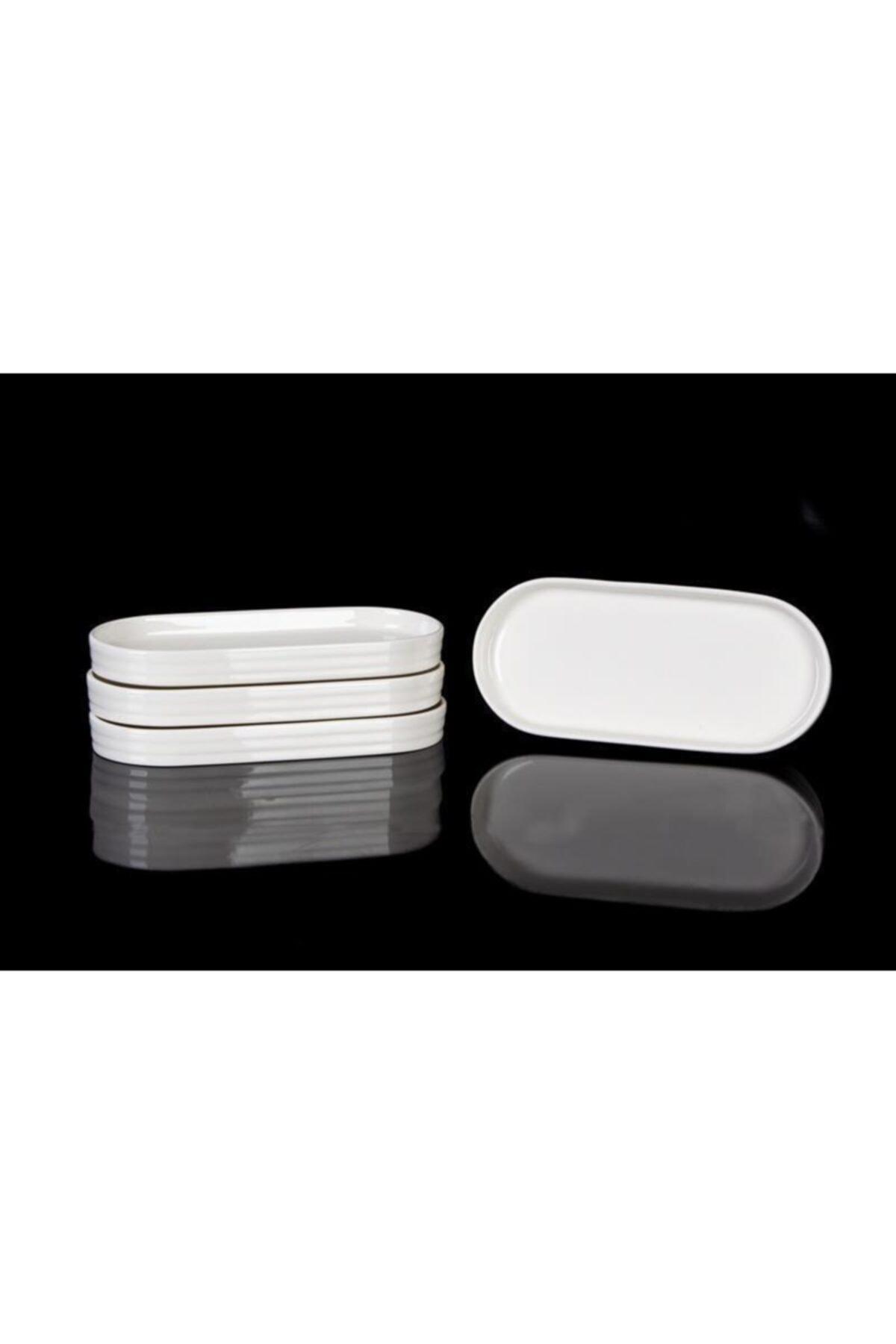 ACAR Bone Porselen 20x13 Cm 6'lı Oval Kayık Tabak 10345 1