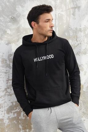 OnlyCool Erkek Üç Iplik Siyah Hollywood Baskılı Kapüşonlu Sweatshirt
