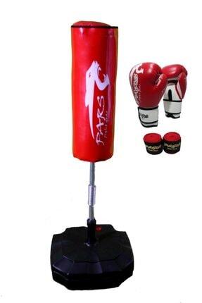 Pars Ayaklı Boks Standı Kırmızı +boks Eldiveni +bandaj