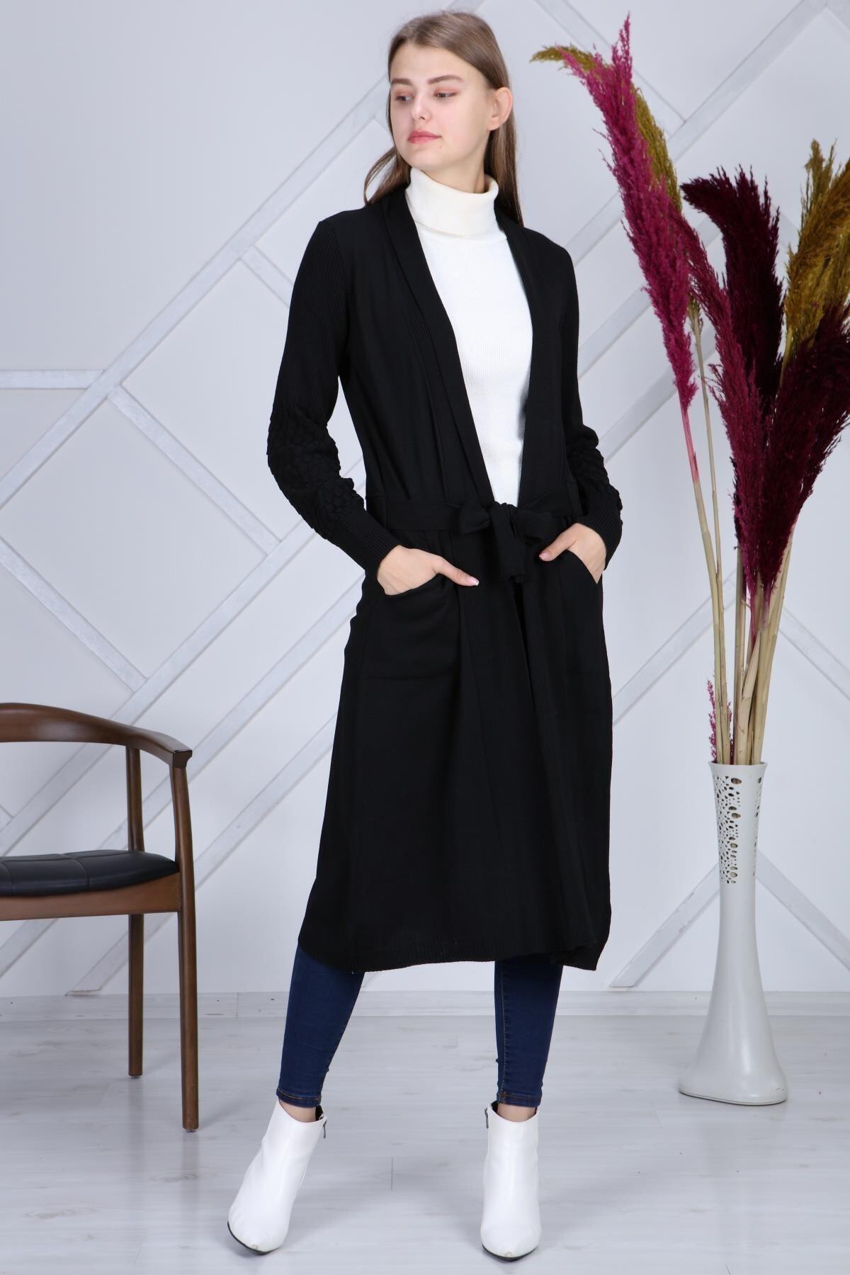 şeymaebrar Kadın Siyah Kol Detaylı Triko Uzun Hırka 1