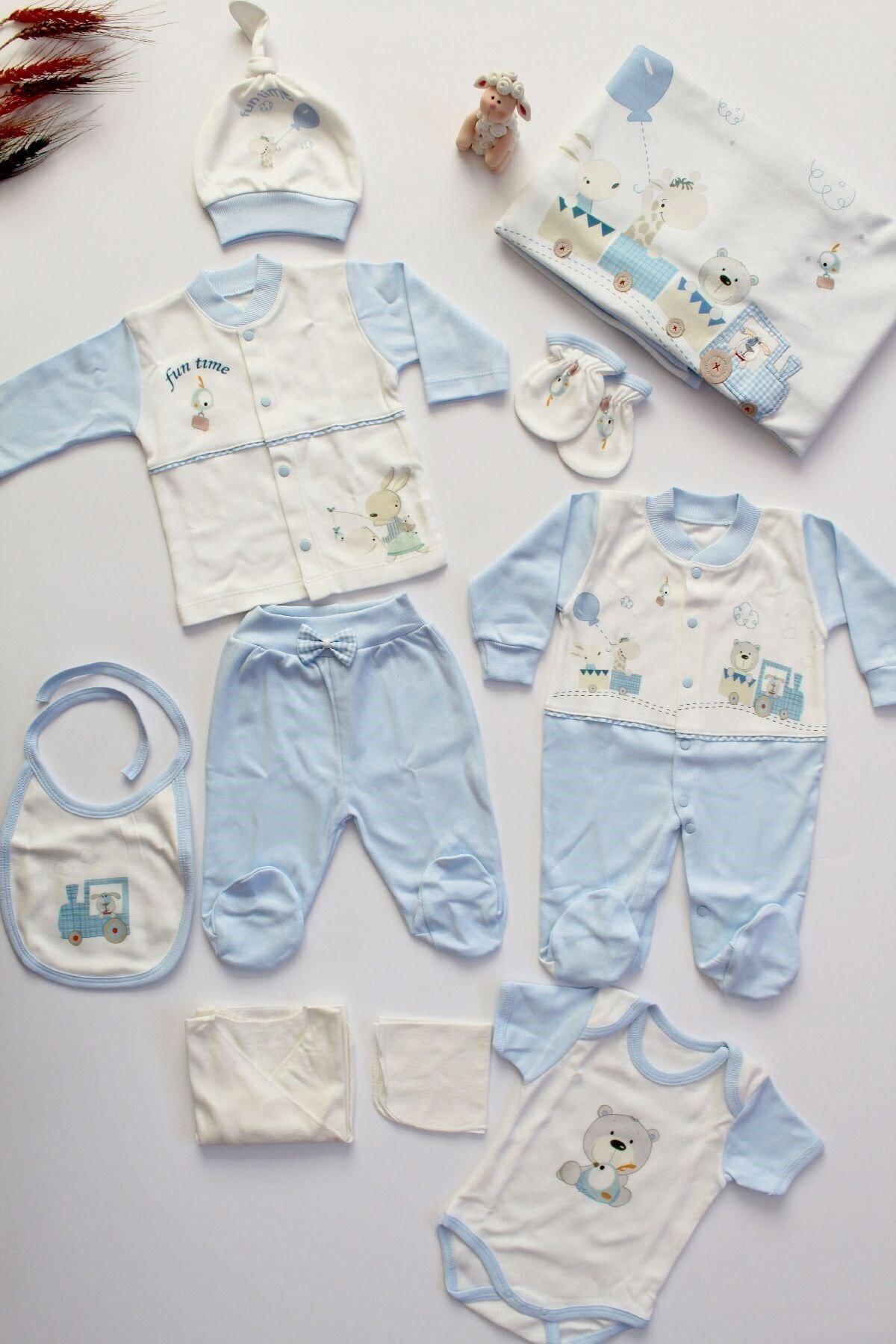 Sebi Bebe Sebi 1028 Tren Baskılı Erkek Bebek 10'lu Hastane Çıkış Seti 1
