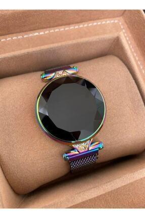 Gold Time Bileklik Hediyeli Dokunmatik Ekran Mıknatıslı Kordon Taşlı Kadın Saati