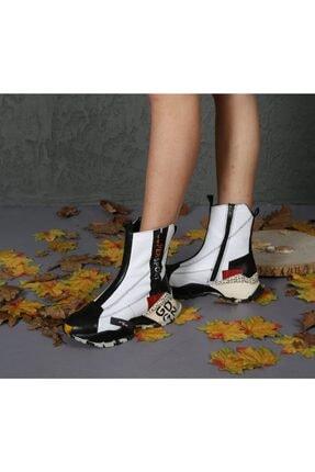 CassidoShoes Özel Tasarım Hakiki Deri Anatomik Taban Çift Fermuarlı Beyaz Bot