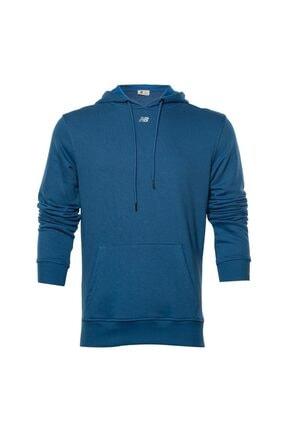 New Balance Erkek Mavi Kapüşonlu Sweatshirt Mph023-son
