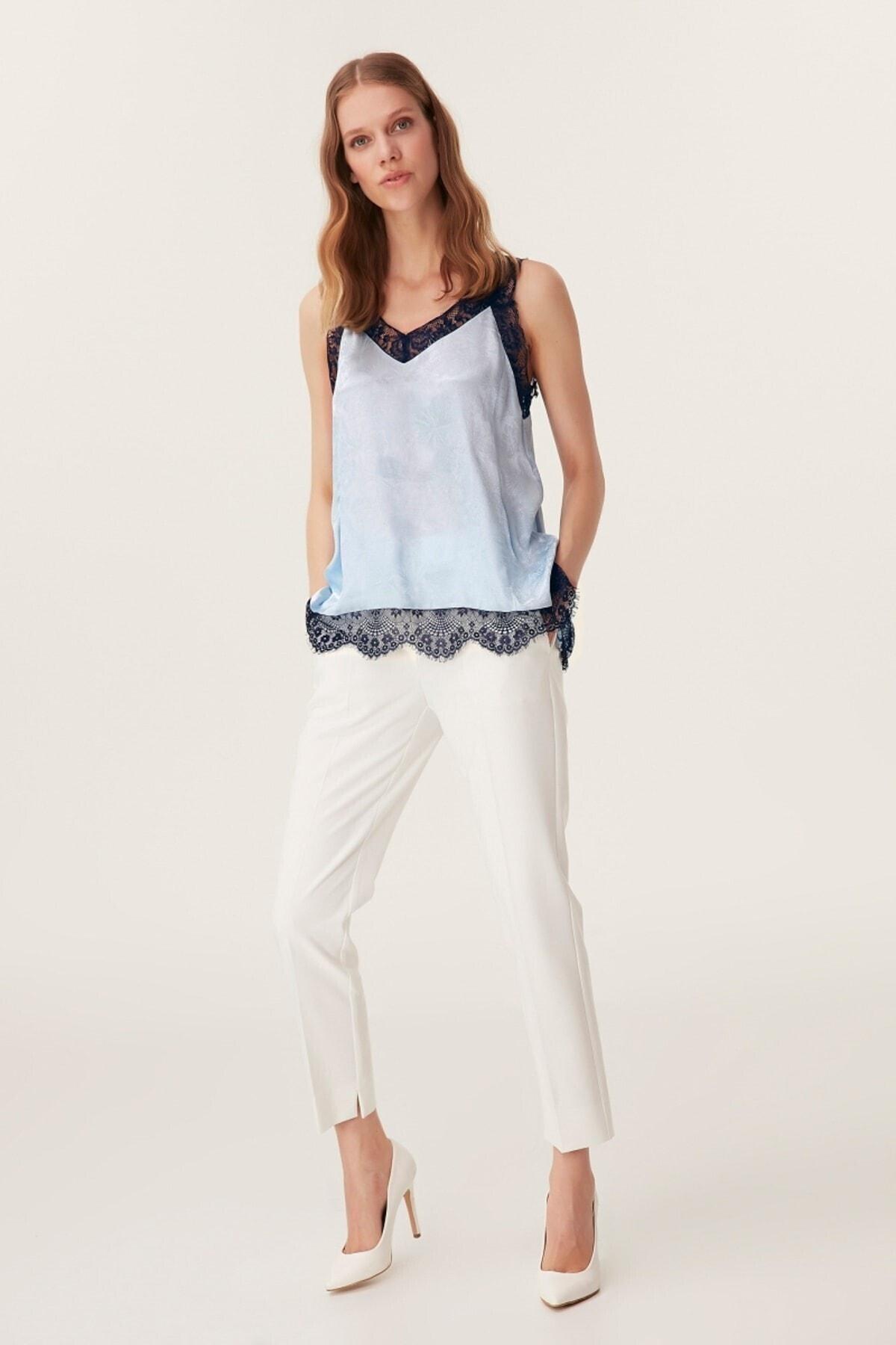 İpekyol Kadın Dantel Şeritli Bluz - Mavi 1