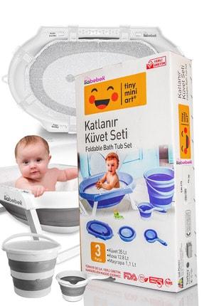 IRAK PLASTİK Lia Bebek Katlanır Banyo Bebek Küvet Seti - Gri