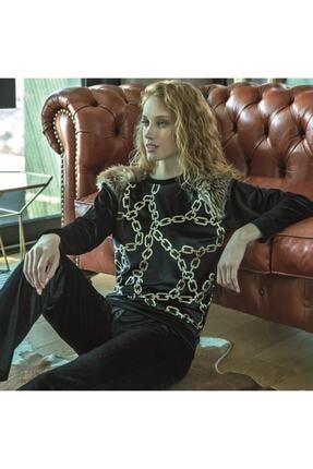 Anıl Kadın Siyah Kadife Pijama Takımı 9687