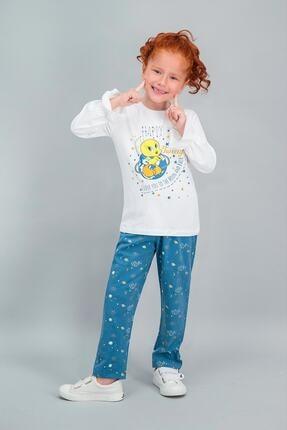 TWEETY Lisanslı Krem Kız Çocuk Pijama Takımı