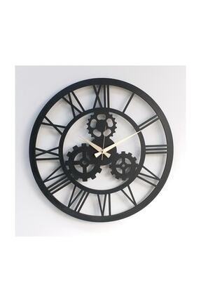 Otantik Dekoratif Ahşap Duvar Saati Dişli Çarklı 50cm, 6mm Mdf