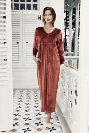 Artış Kadın Kiremit Kadife Ev Elbisesi-7114-3