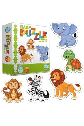 ERKOL OYUNCAK 28 Parça Circle Toys Baby Puzzle Seti 12 Adet Orman Hayvanları