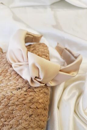 BAHELS Kadın Krem Renk Parlak Saten Düğümlü Lüx Zara Model Taç Saç Bandı